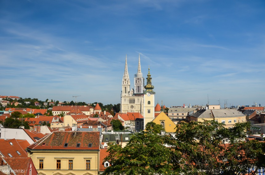 Панорама Загреба с башни Лотршчак